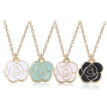 DIY Plant Necklace For Women Romantic Rose Pendant Gold Chain Enamel Necklaces&Pendants Valentine Gift Hep Flower Dropshipping