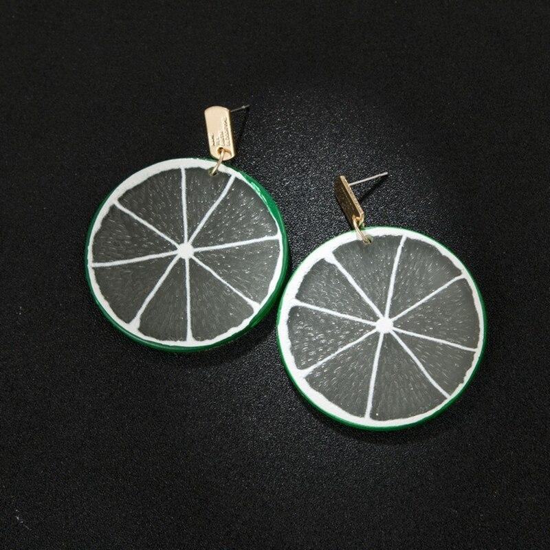 Женские Модные круглые геометрические фрукты из смолы Висячие висячие серьги с лимонами
