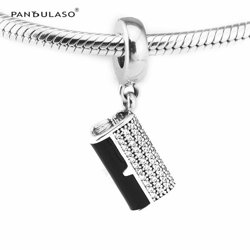 Pandulaso Clutch Bag Dangle Black Enamel & Clear CZ Crystal Charms for Women Jewelry Making Fit Fashion DIY Chain Bracelets