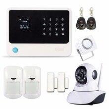 2016 WIFI GSM GPRS Сигнализация Домашней Безопасности с Ip-камера APP Управления Проводной Сирена ПИР Датчик Двери Сигнализация