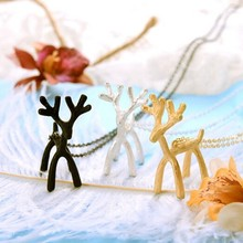Timlee N098 Free shipping Cute Platium Forest Deer three-dimensional Pendant Necklaces Wholesale TLW(China)
