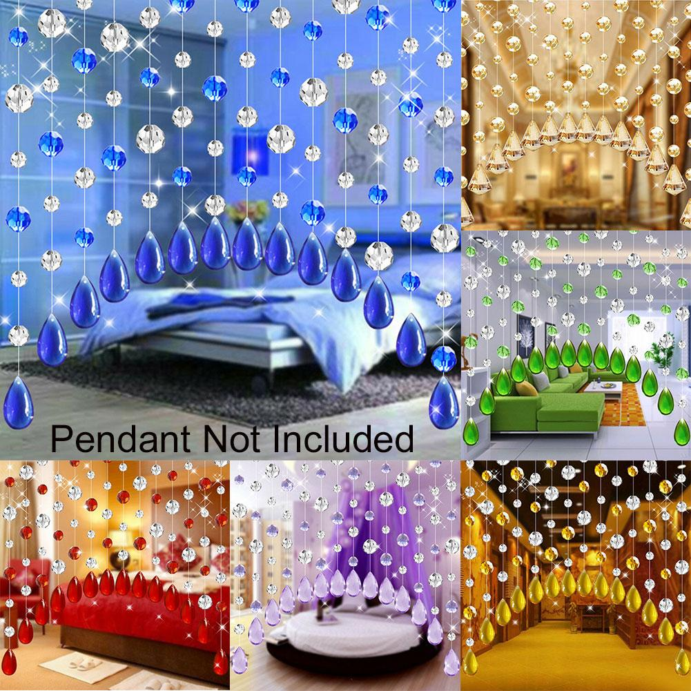 1m Faux Crystal Glass Rose Bead Strip String Curtain Living Room Bedroom Door Wedding Decor Valance Home Decoration