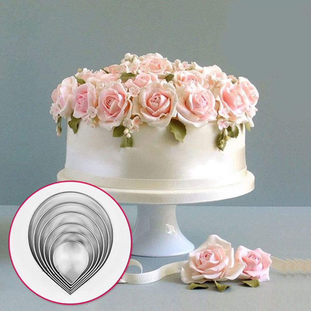 Sugarcraft Cake Decorating And Baking Show : 6x Rose Petal Cookie Icing Stainless steel Cake Decorating ...