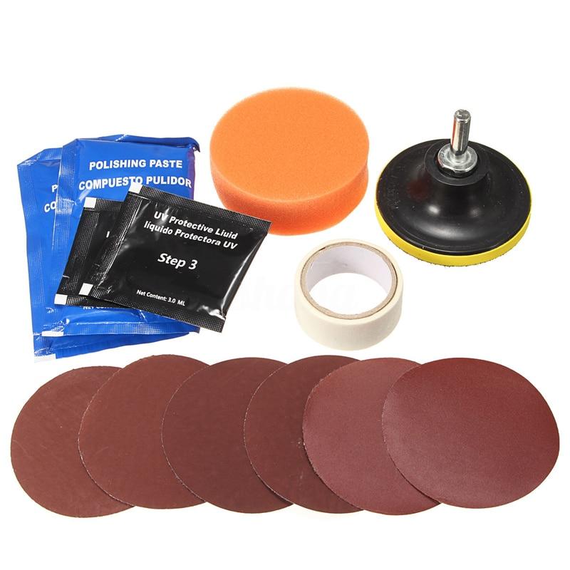 Pro Headlight Headlamp Cleaning Restoration Plastic Polish Restorer Kit