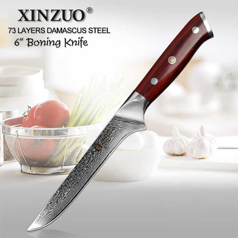XINZUO 6 inch Boning Fish Knife 73 Layers Damascus Steel Razor Sharp Kitchen Knife Kitchen Tools