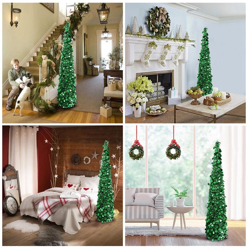 aytai bling sequins christmas tree 150cm artificial tinsel pop up christmas new year decoration christmas decorations for home in trees from home garden - Pop Up Decorated Christmas Tree