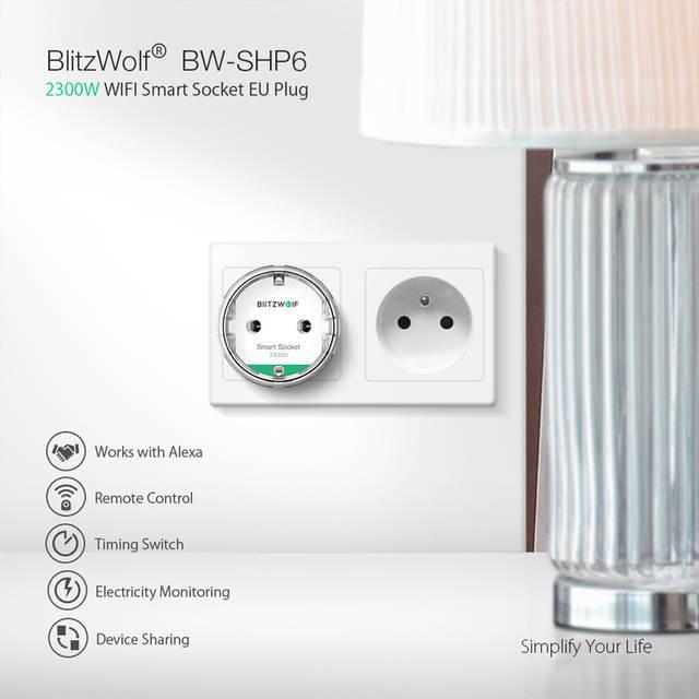 US $13 87 26% OFF|BlitzWolf BW SHP6 EU Plug 220V 240V 10A Metering Version  WIFI Smart Socket Timing Remote Control Work with Amazon Alexa / Google on