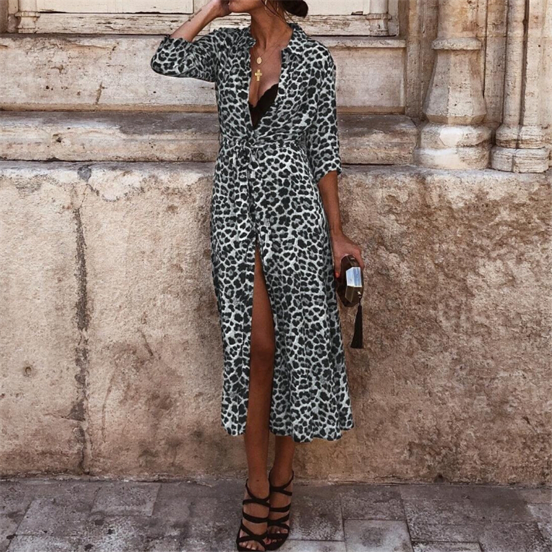 Women Dress Autumn 2019 Ladies Leopard Print Dresses Sexy Women V Neck Long Sleeve Midi Dress Womens Dresses Fall Evening Party 3