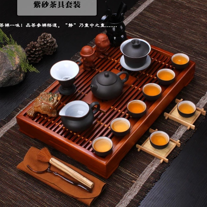 Chinese Kung Fu Tea Set Yixing Zisha Purple Clay Tea Pot Cup Set Solid Wood Tea  Table Tureen Pitcher Filter Net Cup Holder Brush In Coffee U0026 Tea Sets From  ...