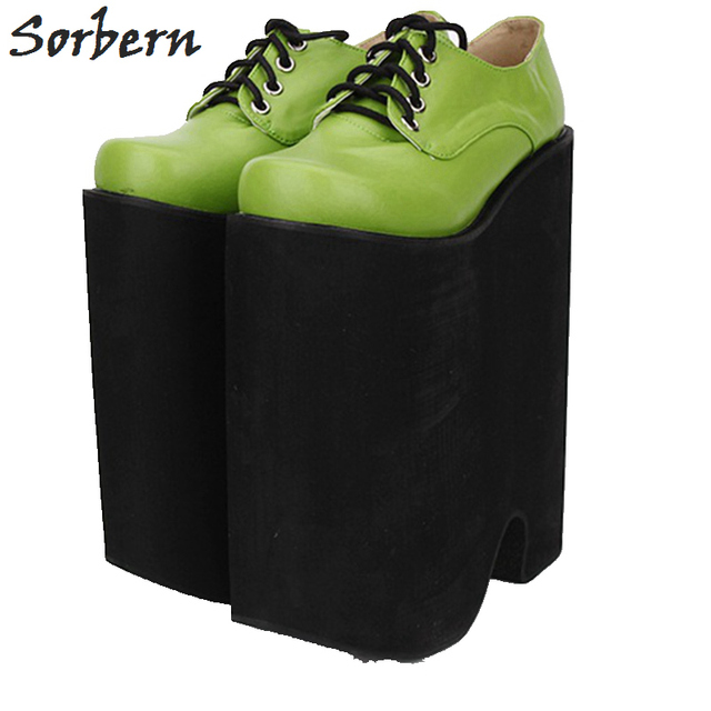 Sorbern LOLITA Cosplay Shoes Round Toe PUNK Shoes Ladies 22cm Extrem High Heels Platform Pump Shoes For Women Lace-up COS Shoe