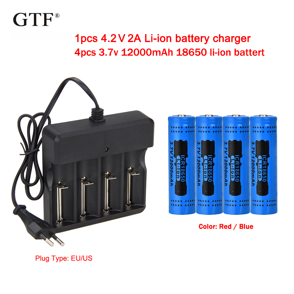 DC 4.2V 2A US Plug Dual Slot Charger for 3.7V 18650 Li-ion Rechargeable Battery