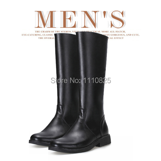 ФОТО Free shipping 2014 new men riding boots with real leather knee-high boots black, fashion men's shoes