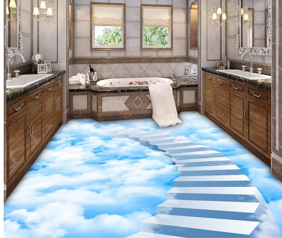 wallpaper for floor Clouds step ladder bathroom floor bedroom 3D ...