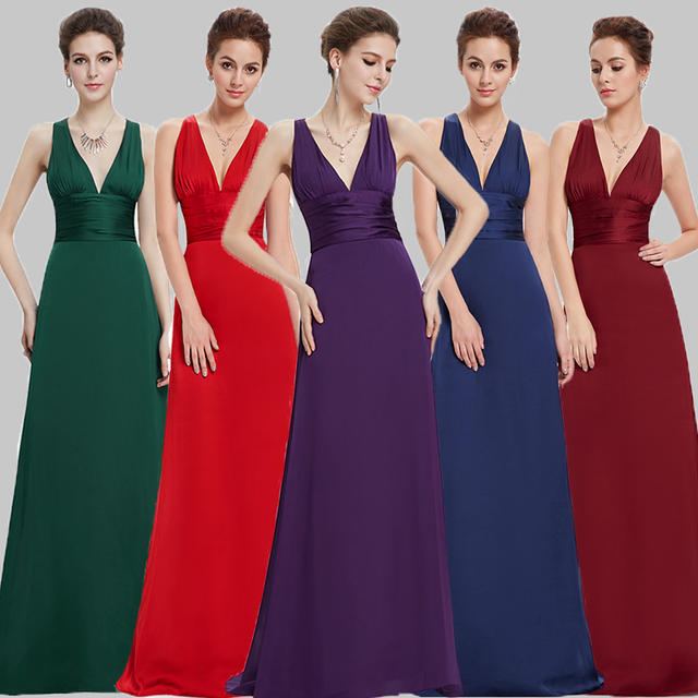 Evening Dresses Ever Pretty Fast Shipping 2018 Elegant Purple Black Satin Sexy V-neck New Red Long Party Dresses Vestito Lungo
