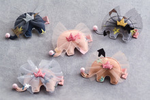 20pcs Fashion Cute Glitter Crown Elephant Girls Hairpins Solid Kawaii Pom Pom Nose Animal Lace Hair Clips Hair Accessories