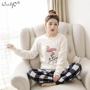 Image 4 - Striped & Flamingo Pajamas Set for Women 2019 New O neck Long Sleeve Flannel Sleepwear Suit Winter Warm Two Piece Set Homewear