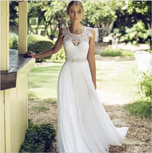 2015 new custom blanco marfil con cuentas de perlas scoop escote de