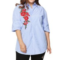 Plus Size Rose Embroidery Blouse Shirt Women Long Sleeves Shirt Original Design Striped Pearls Button Down