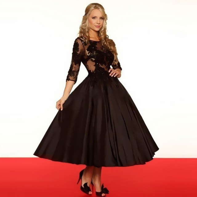 Free Shipping 2016 Short Lace Black Wedding Dress Taffeta Vestido