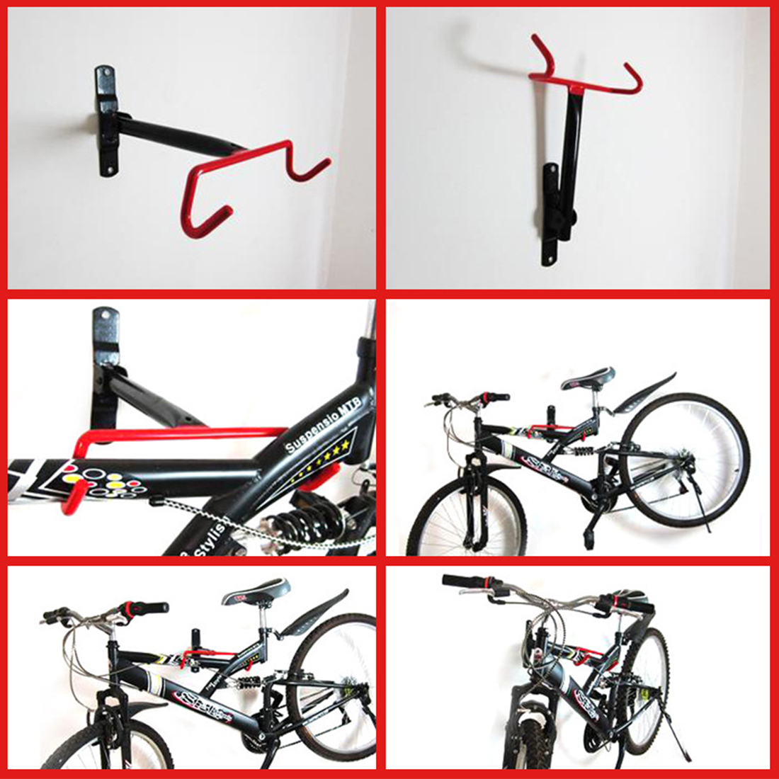 Bicycle Tough Steel Storage Parking Rack Bike Holder Mount Hanger Hook Garage Wall Bike Stand Rack Bicycle Hook Holder Racks Red