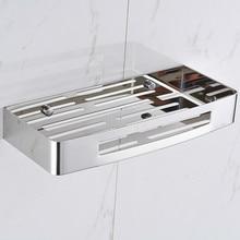 Free shipping,304 stainless steel polished finish bathroom shelf functional storage rack basket