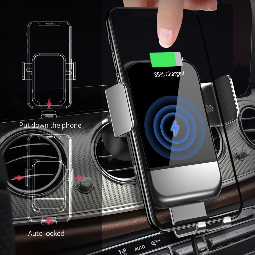 Image 5 - FPU Qi Car Wireless Charger for iPhone Xs Max XR X 8 10W Fast  Wireless Charging for Samsung S10 S9 S8 Car Phone Holder ChargerCar  Chargers