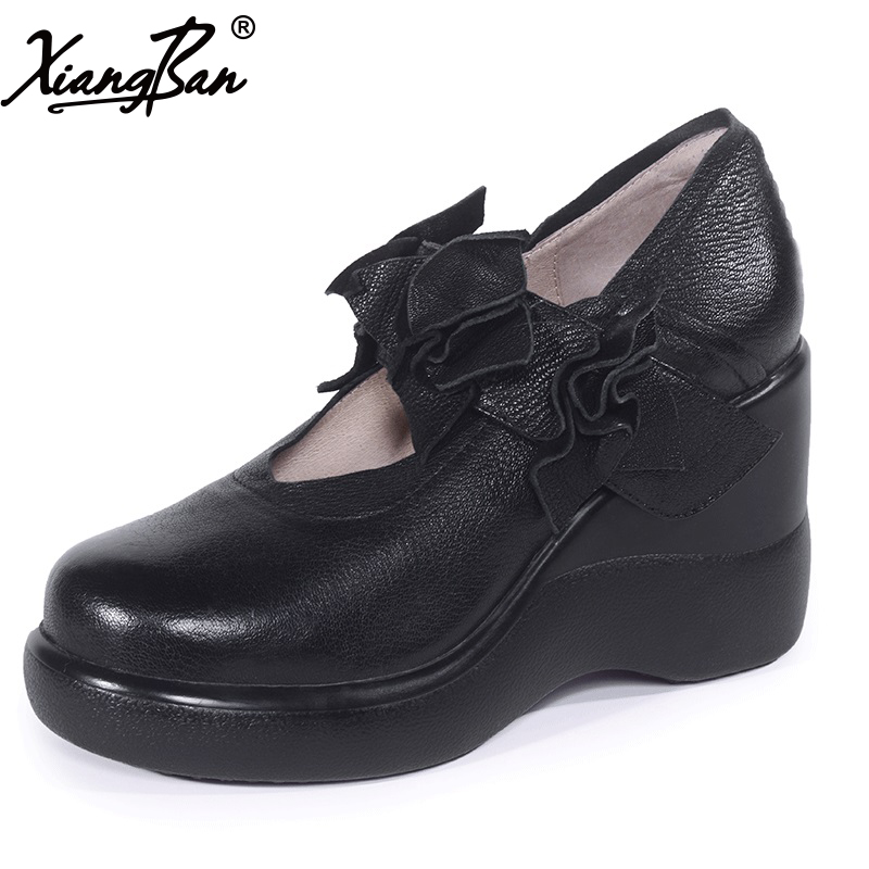 Xiangban 2018 spring black high heels platform genuine leather wedges shoes women comfortable shallow mouth women genuine leather platform wedges shoes ladies shallow mouth slip on high heels wedge shoes fashion cow leather mother shoes