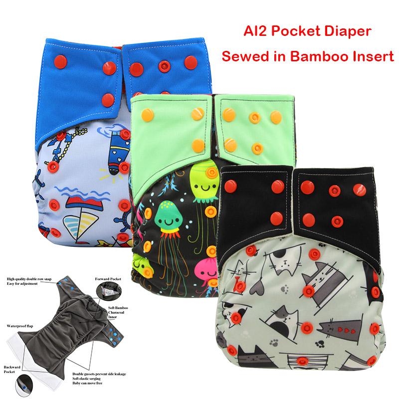 Ohbabyka AI2 Baby Cloth Diapers Adjustable Diaper Cover Washable Waterproof Reusable Nappies Suit 0-2 Years 3-15kg