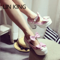 LIN KING New Fashion Women Pumps Bowtie Buckle Solid Round Toe Sweet Lolita Shoes Cute Thick Square High Heel Short Shoes