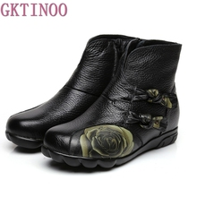 Handmade Shoes For Women Warm Plush Genuine Leather Ankle Boots Vintage Slip-resistant Mom Women's Shoes Martin Boots