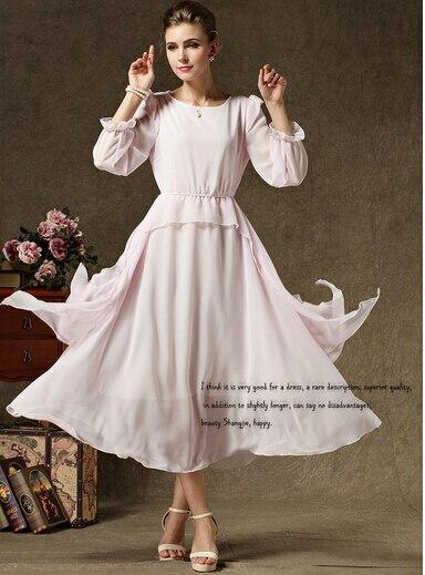 spring summer long sleeve chiffon pink rockabilly dress vestido blanco maxi retro vintage robe longue casual
