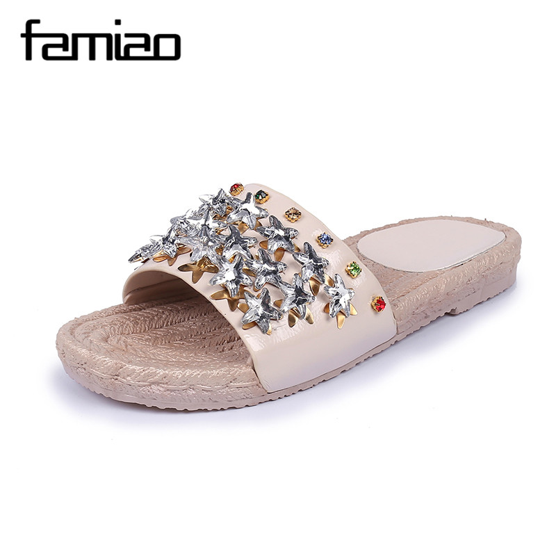 FAMIAO Summer Shoes Crystal Slides Shoes Women Flip Flops Flat With Casual Shoes Transparent diamond rhinestone slippers