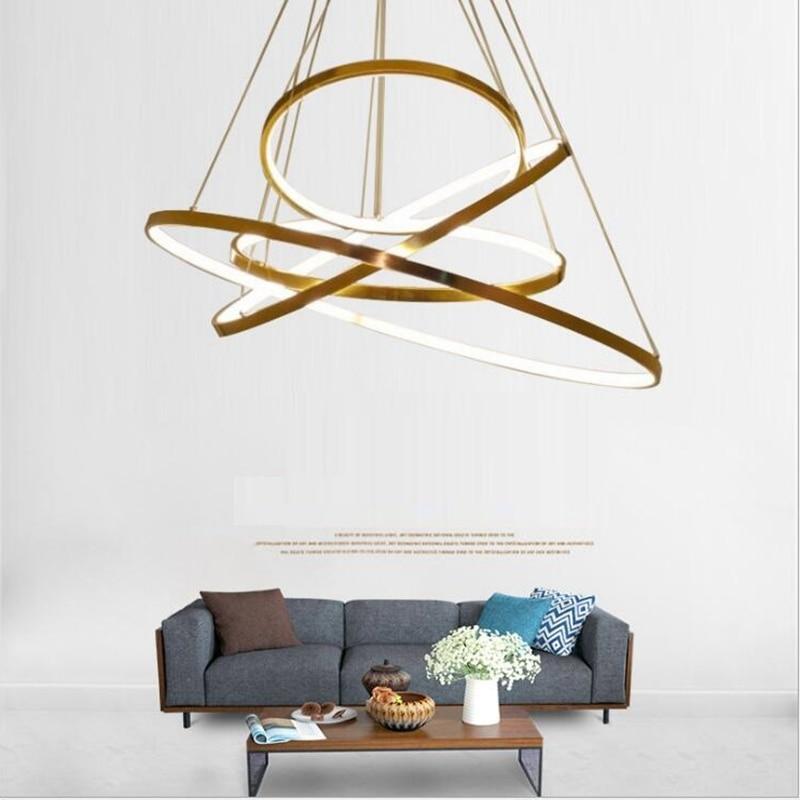 LuKLoy Gold Modern Pendant Light Acrylic Large Ring Circle Ceiling Lamp for Foyer Living Room Bedroom Loft Lighting Fixture цена 2017