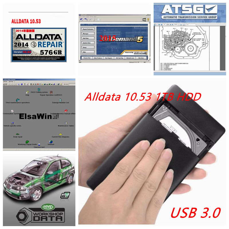 2018 Newest Auto Repair Alldata Software V10.53 software Mitchell on demand 2015 1tb usb hard disk all data DHL free shipping 2018 alldata 10 53 1tb hdd all data auto repair software mitchell on demand 2015 vivid workshop data atsg elsawin tis2000 1000gb