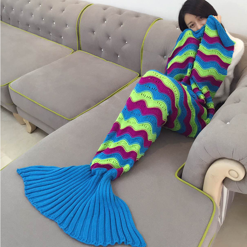Brand new High Quality Soft Knitted Mermaid Tail Blanket for Adult Handmade Crochet Throw Bed Wrap Striple Sleeping Bag Scarf