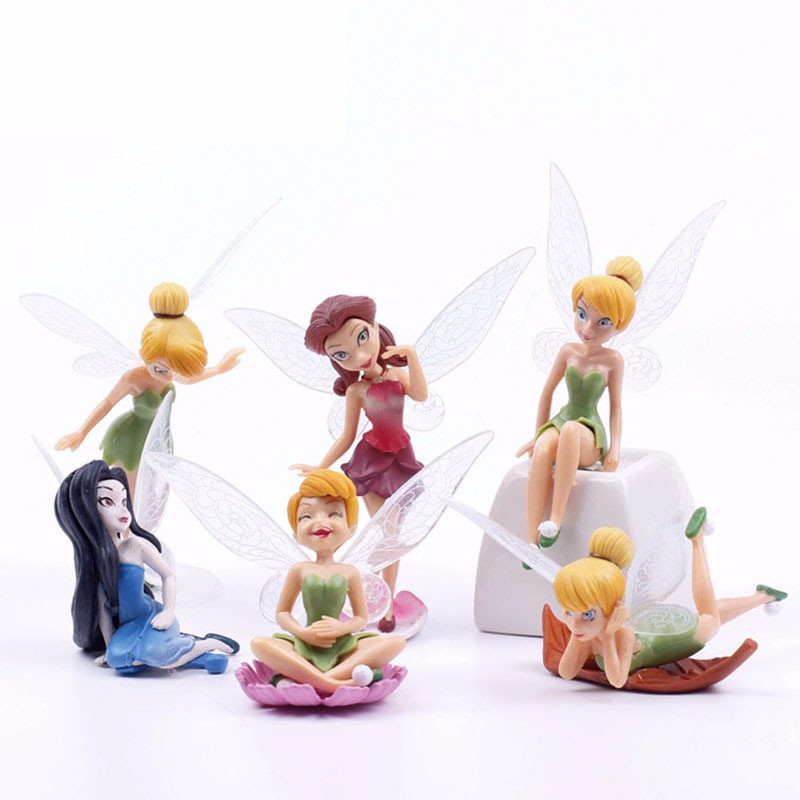 Action & Toy Figures 6pcs/set Christmas Kids Gift Tinkerbell Dolls Flying Flower Fairy Children Animation Cartoon Toys Girls Dolls Baby Toy