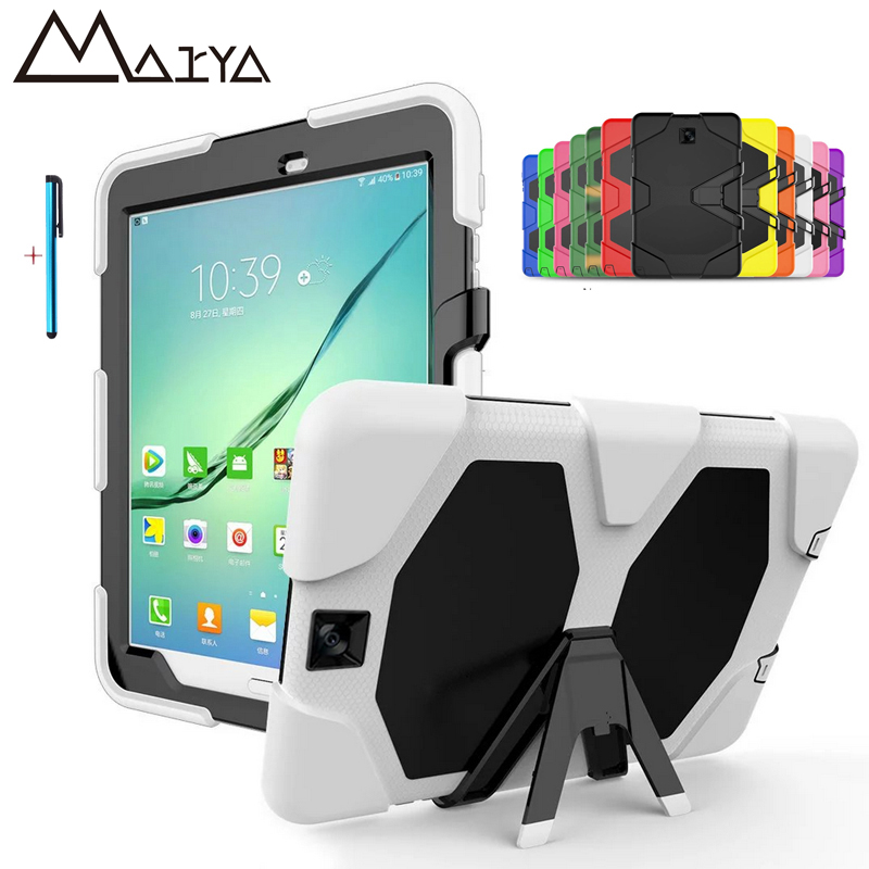 Case For Samsung Galaxy Tab s2 9.7 T815 T810 T813 Shockproof Tablet Case Heavy Duty Silicone Rugged Impact Hybrid Protective 97 metal ring holder combo phone bag luxury shockproof case for samsung galaxy note 8