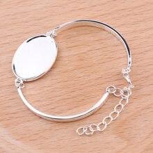 Reidgaller 10 pçs banhado a prata 18x25mm diâmetro oval cabochão pulseira configurações diy branco bangle base para fazer jóias