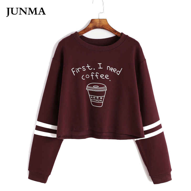 Women Pullover Short Cute Dancer Teens Youth Kawaii Clothing  Crop Sweatshirt Top Letter Print first i need coffee women' hodies