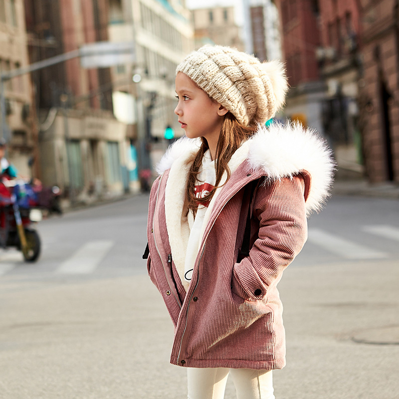 Girls Down Parkas Long Rabbit Raccoon Fur Collar Coat Winter Pink Fleece Winter Down Coat White Hooded Solid For Children Kids 2017 winter new clothes to overcome the coat of women in the long reed rabbit hair fur fur coat fox raccoon fur collar