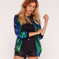Women Sequin Coat Green Bomber Jacket Casual Style Zipper Long Sleeve Basic Jackets Shinny Autumn Ladies Tops Clothing Outerwear