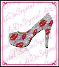 Aidocrystal 2015 neueste design handgemachte kristall schuhe frauen party high heel