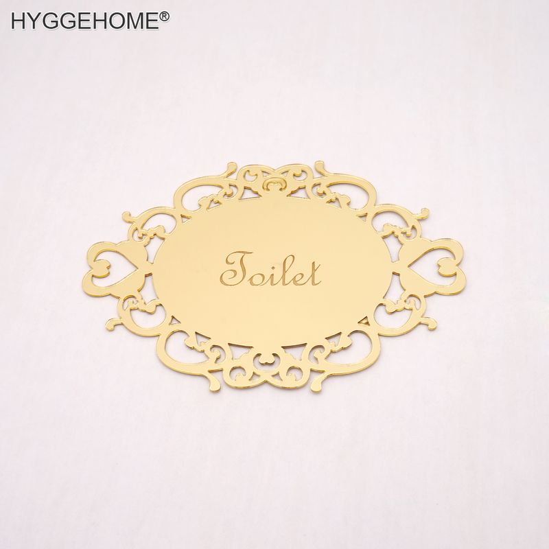 14x10cm Bedroom Bathroom Toilet WC Door Sign Wall Sticker Signage Acrylic Mirror Oval Indicator Home Decor New House Moving Gift
