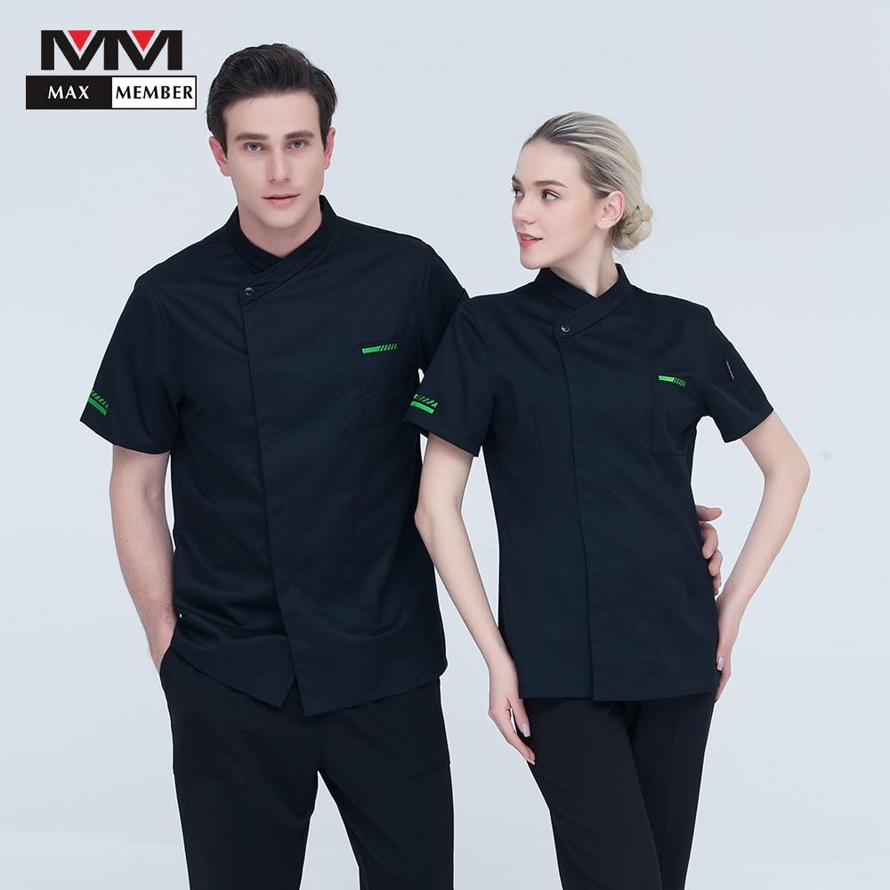 Chef Cook Cap Black Jacket Top Restaurant Hotel Kitchen Uniform Work Wear XL