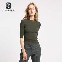 CHURSES 2017 New Arrival Women Sweaters And Pullovers Knit High Elastic Jumper O Neck Casual Women