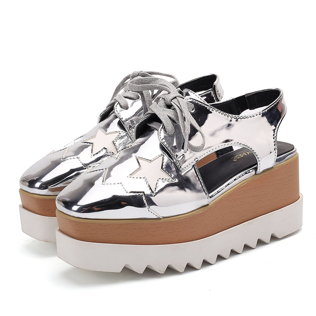 US $30 16 16% OFF|brand summer cutout brogue wedge shoes woman square toe  gold/silver star platform sandals women lace up gladiator sandalias y430-in