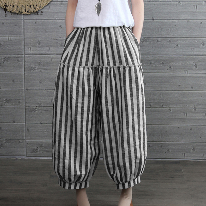 2019 Autumn ZANZEA Women Elastic Waist Loose   Wide     Leg     Pants   Casual Vintage Striped Lantern Trousers Baggy Pantalon Plus Size