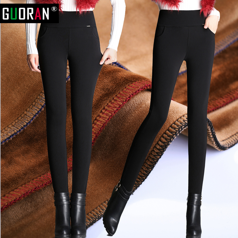 High waist women 2016 Winter warm velvet office work pencil   pants     capris   plus size ladies formal trousers black red Blue female