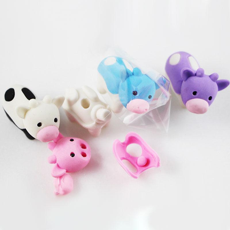 Купить с кэшбэком 1X cute Cartoon eraser lovely Cows modelling eraser children stationery gift prizes  kawaii school supplies papelaria