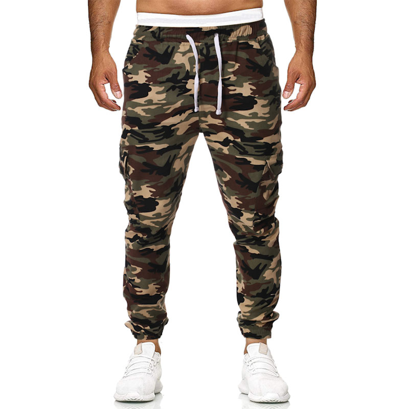 High Quality 2019 Spring Mens Joggers Pants Camo Cargo Pants Men Jogger Harem Pants Camouflage Streetwear Pockets Trousers Men